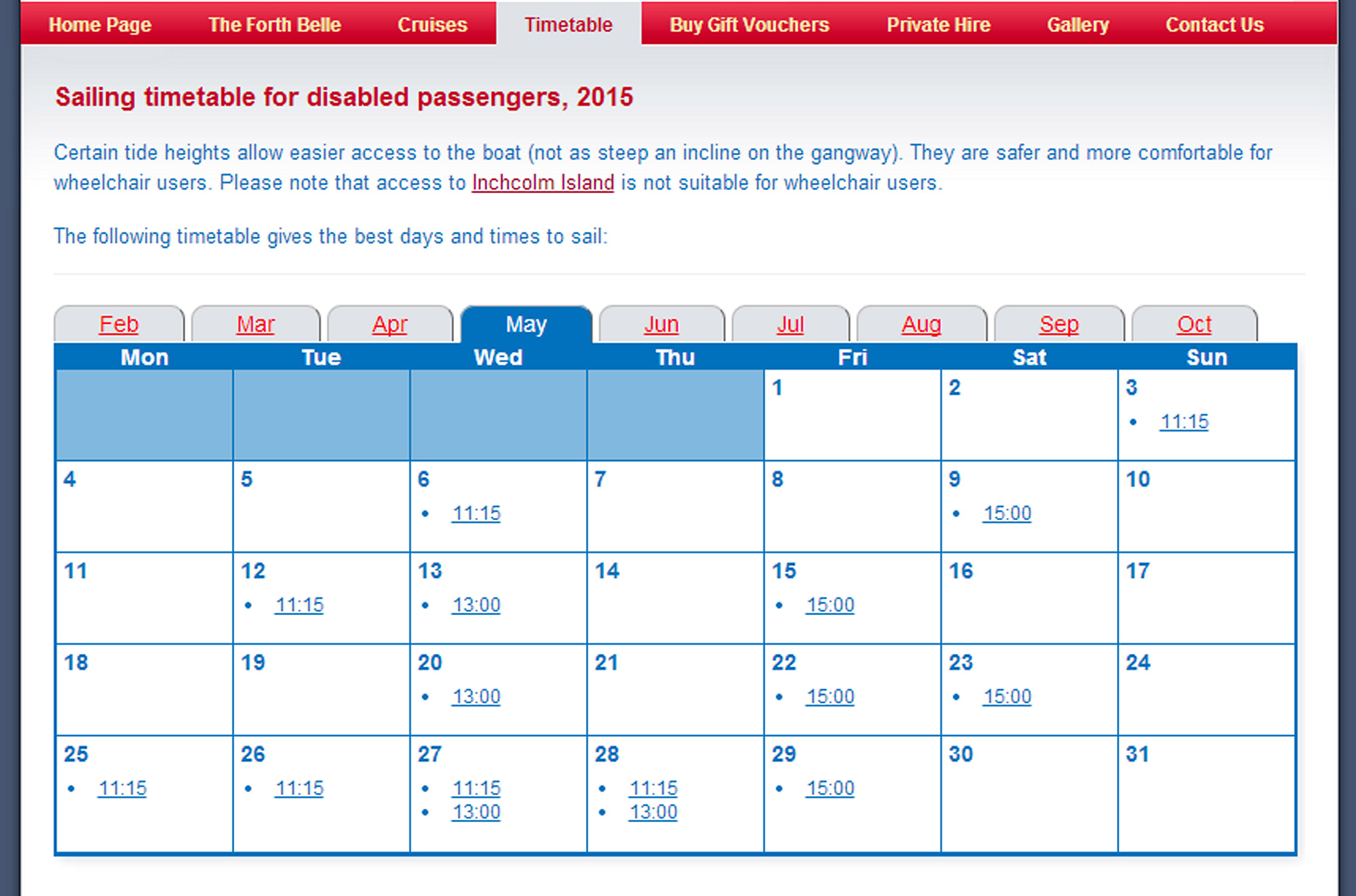The disabled timetable