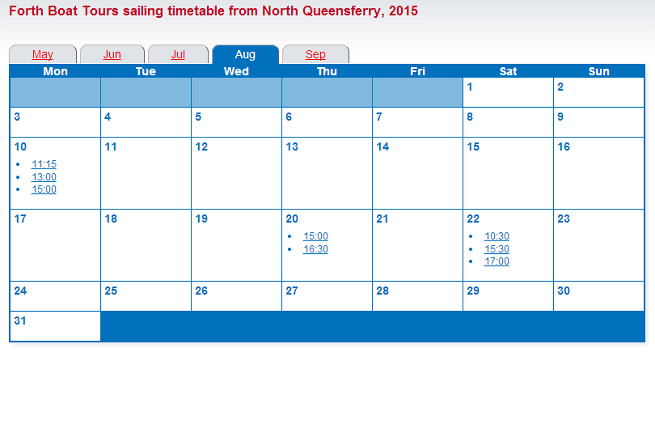 The North Queensferry timetable